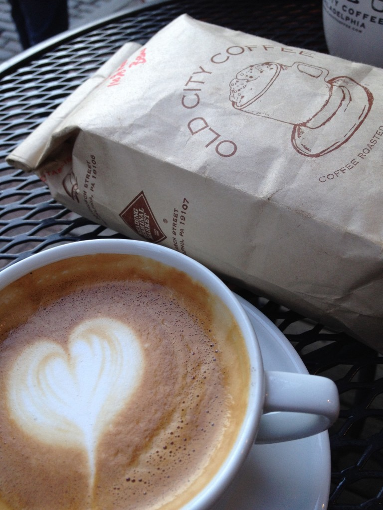 latte and a bag of beans from Old City Coffee